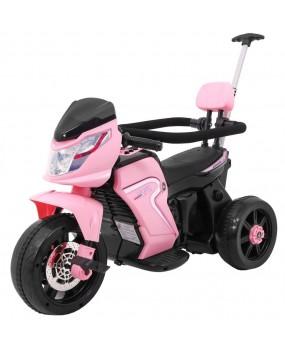 Elektrická motorka Bike Pusher s vodiacou tyčou ružová